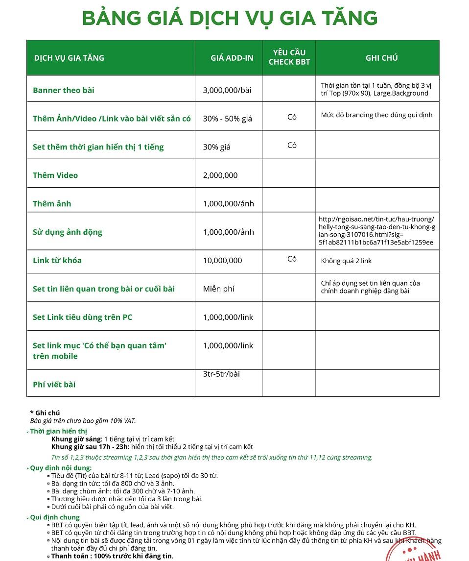 bảng báo giá ngoisao.net