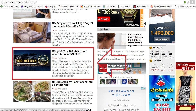 quảng cáo trên Vietnamnet