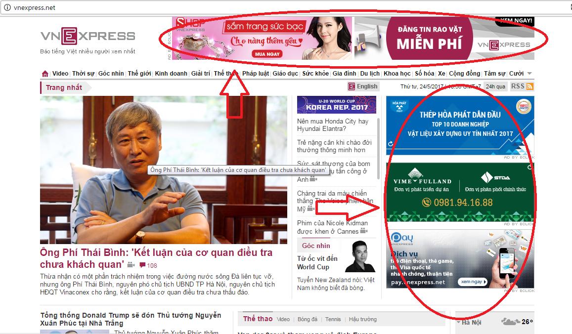 quảng cáo trên báo VnExpress