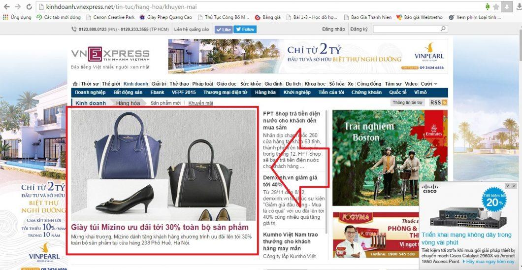 Mizino đăng bài PR – Banner sản phẩm mới