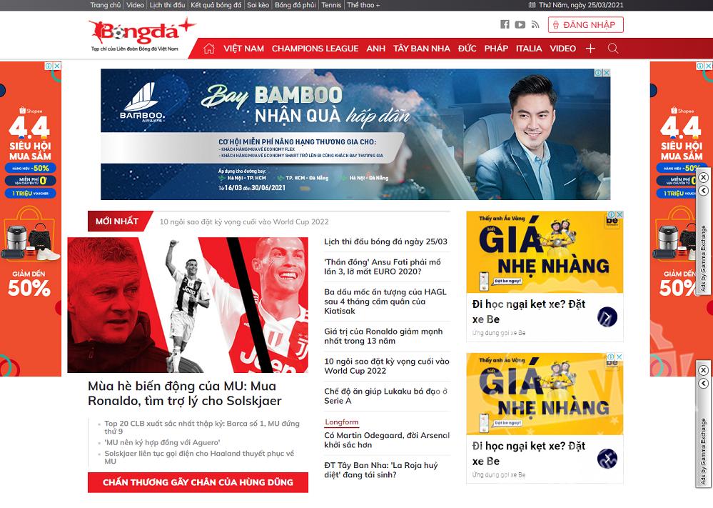 Quảng cáo trên Bongdaplus: Book vị trí đẹp, báo giá chiết khấu cao